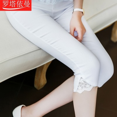 Leggings, summer thin section, wear feet, mouth lace, pencil pants, self-cultivation big yards stretch pants, female summer seven points pants tide