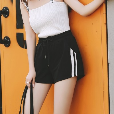 new loose Korean thin wide leg shorts female Summer Black waisted all-match student leisure pants