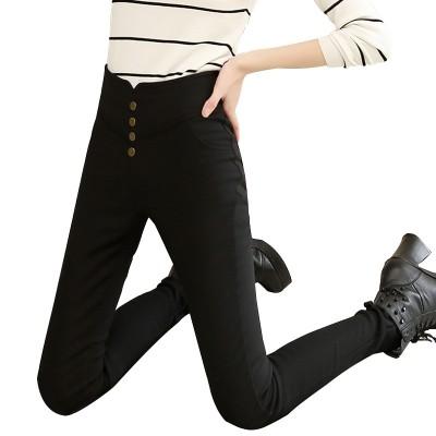 The new spring tight pencil thin feet Leggings wear high waist thin summer black female nine large code