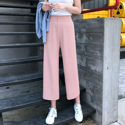 The Korean version of thin waist Pleated Chiffon wide leg pants pants in spring and summer of nine students was thin seven fold skirt