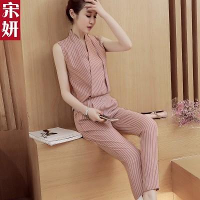 Chiffon pants, women's new summer,  Korean version of thin stripes, underwear, women's nine point pants, fashion set