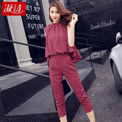 Slim sleeveless Jumpsuit female summer two piece suit one-piece Jumpsuit Korean women seven pants Jumpsuit