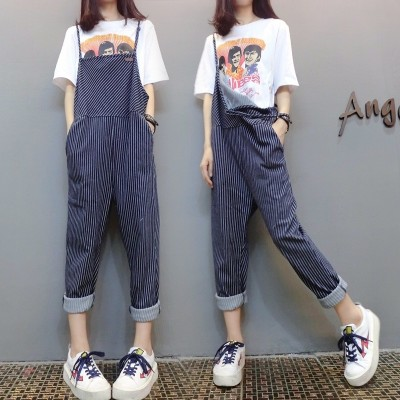 new wide leg pants dress skirts loose pants Siamese summer suit leotard Sen female students