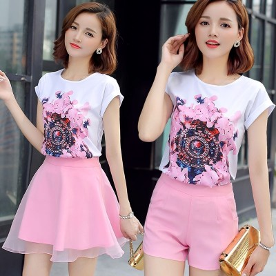 Summer shorts, short sleeve, two piece set,  new Korean version, loose T-shirt, fashionable suit, skirt, broad leg pants, suit women
