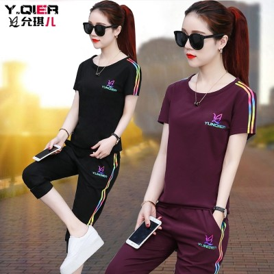 summer fat mm casual sports outfit, women's large size, women's short sleeve, seven point pants, running clothes two sets