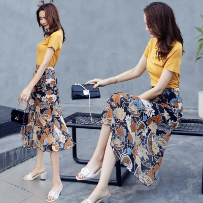 Female floral dress fashion dress Zhongchang summer thin short sleeved temperament two suit skirt  NEW