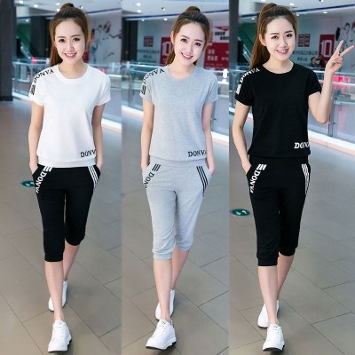 Sportswear, women's summer short, new  short sleeved, seven pants, slim slim, leisure students two sets