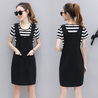In the long skirt with shoulder straps two piece  summer new dress dress skirt female summer dress set.