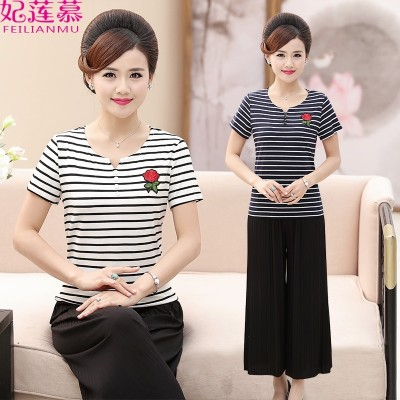 Mother summer suit elderly women aged 40-50 short sleeved Chiffon in  new middle two sets