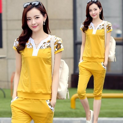 Sports suit, women's  summer new short sleeve, seven point pants, big size women's dress, fat sister, casual clothes two sets