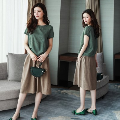 Cotton dress female two sets of long short sleeved summer new  Korean large loose suit dress code