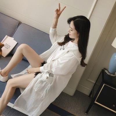 new summer coat sunscreen clothing girls long Korean loose cardigan all-match windbreaker thin sunscreen shirt dress