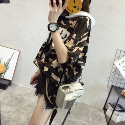 Camo short sleeved T-shirt blouse loose shirt  Korean students all-match new fashion summer clothes