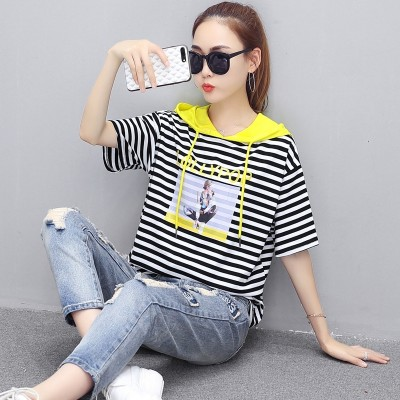 new summer dress stitching striped hooded T-shirt printing head all-match Fashion Institute wind sweater