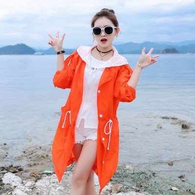 The  summer sun protection clothing girls long loose size UV sunscreen clothing cardigan breathable ultra-thin coat