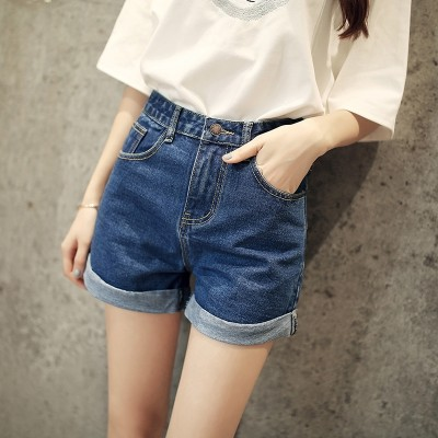 High waisted denim shorts female student summer curling loose thin a word pants baggy pants shorts size female.