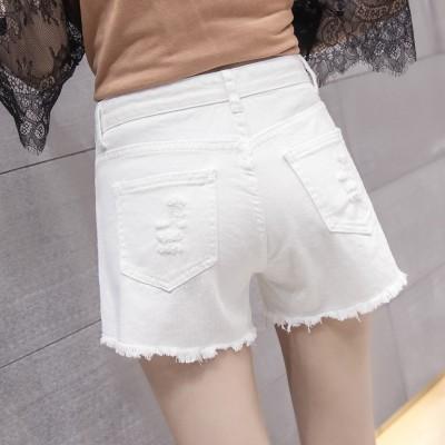High waisted denim shorts female summer white all-match loose slim hole Student Korean denim shorts female pants tide