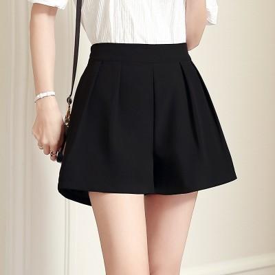New Summer Shorts female high waisted black chiffon culottes wide leg pants pants loose a hot Korean skirt