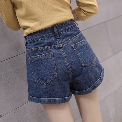 spring summer new denim shorts female student waist white all-match Mini shorts Korean loose slim