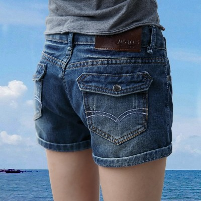 At the beginning of  cattle new summer Denim Shorts Girls waist elastic thin student s casual loose pants tide