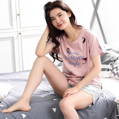Fan pigeon pure cotton pajamas, women's summer short sleeve pants, casual cartoon, sweet and lovely Korean lady's home wear