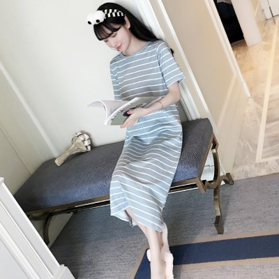 Korean female cotton short sleeved summer pajamas cute female cotton Nightgown striped summer loose Princess long service Home Furnishing