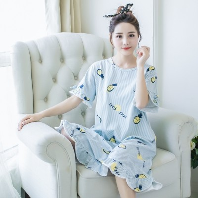 Lovely summer summer cotton Nightgown female pajamas loose skirt Korean size Princess Home Furnishing wear short sleeved women thin