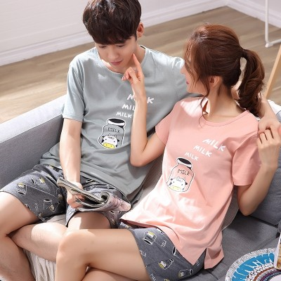 Lovers' pajamas, women's summer short sleeves, pure cotton Korean Edition, sweet set, men's cotton cartoon, cute summer home clothes