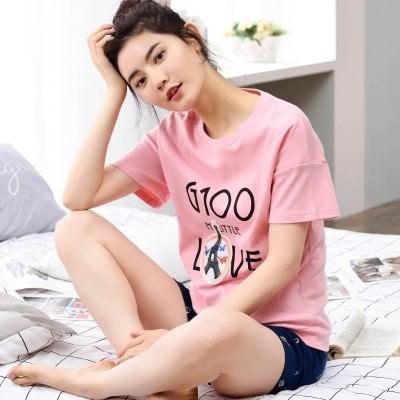 Fan pigeon summer pure cotton women's short sleeved pajamas set, cotton, summer ladies, leisure, lovely Korean clothing