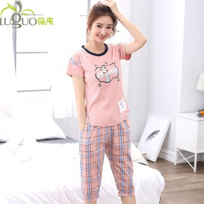 Korean Green pajamas female pants seven cotton short sleeved summer suits summer leisure clothing two sets of sweet Home Furnishing