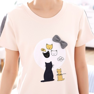 Two sets of Korean lovers pajamas, women's summer cotton short sleeve, loose summer sweet and lovely, men's home suit set