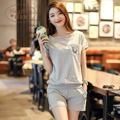 Summer short sleeved pajamas, women's cotton shorts, casual two sets, can be worn outside the home suit, set the Korean version of loose thin money