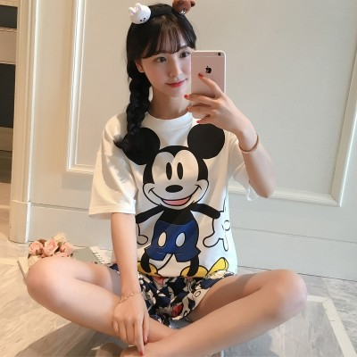 Summer pajamas, summer suit, short sleeve home wear, female Korean Summer Edition, cartoon girl cotton pajamas two sets