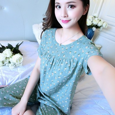 Mom, cotton, silk pajamas, women's short sleeved summer home clothes, summer casual leisure, XL, middle-aged suits