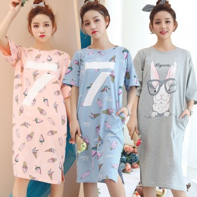 Sweet summer Nightgown Pajamas female Korean cartoon Home Furnishing wear cotton nightdress home girl students
