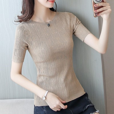 Collar short sleeved short sleeve shirt female head thin sweater sleeve T-shirt slim half sleeve silk knit in summer