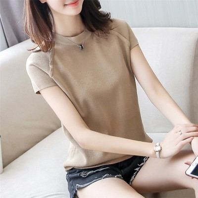 Short sleeve T-shirt shirt female head loose thin sweater T-shirt blouse tide in spring and summer