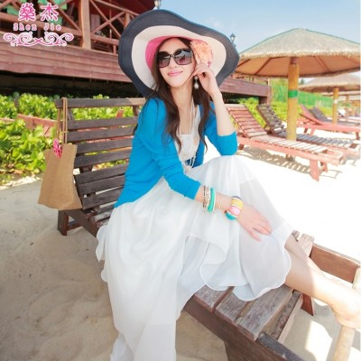 Shen Jie new spring  dress sweater cardigan sweater dress Korean shawl sweater coat conditioning