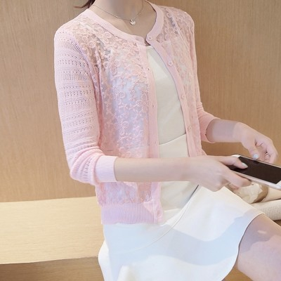 A thin coat sweater cardigan sweater spring summer new Korean Short Sleeved hollow a small shawl