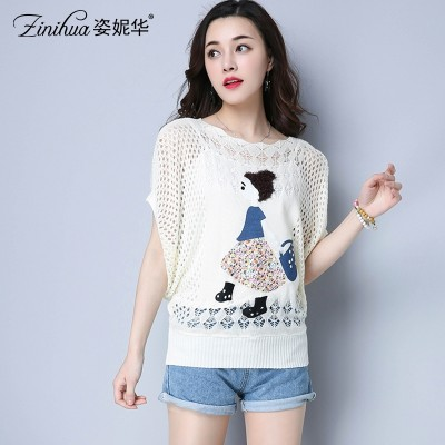 The new spring and summer  Pullover Sweater female all-match hollow bat sleeve jacket sweater cartoon air tide