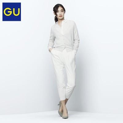 A short summer dress sweater coat collar knit cardigan sweater V conditioning 281357 excellent GU