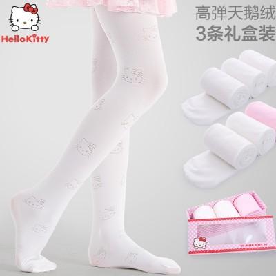 HelloKitty children even socks spring thin silk stockings female wear velvet Leggings socks baby dance
