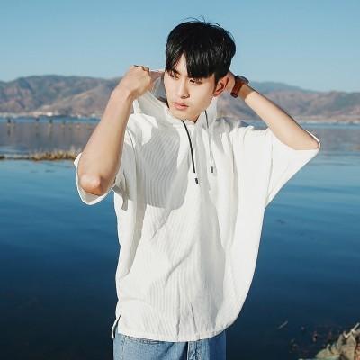 Male hooded T-shirt sweater BF summer wind loose sleeve five Harajuku BianFuShan cuff hat dress tide