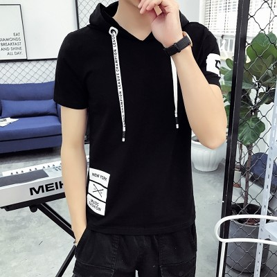 Youth short sleeved T-shirt summer Hoodie Mens Cotton Hoodie sweater cuff students half tide