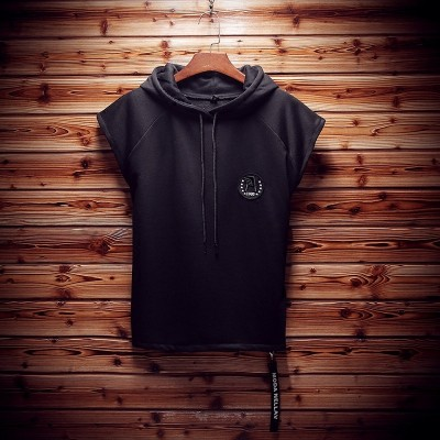 Thin style hooded T-shirt, summer men's half sleeve T-shirt, men's XL Plus, short sleeve T-shirt tide