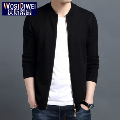 The fall of man thin sweater collar Cardigan Sweater Jacket Coat SWEATER MENS young Korean tide