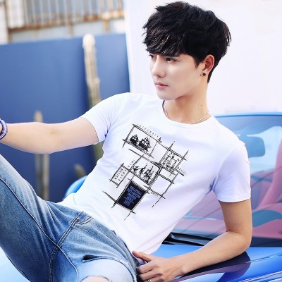 Men's short sleeve T-shirt  summer new Korean men's clothes on a white T-shirt, slim tide