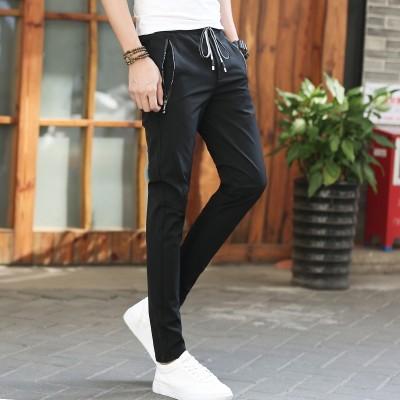 Thin summer casual pants young men black stretch slim pants pants pants men Haren feet movement