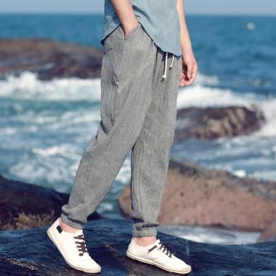 Linen slacks Chinese wind sweatpants ankle banded pants cotton pants pants pants men nine Haren lantern pants