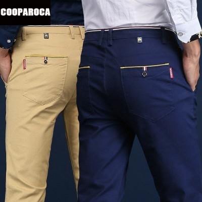 The new men's business casual pants stretch all-match slim straight long cotton pants youth tide
